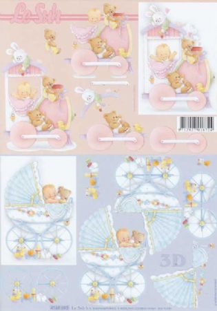 Babe's In A Pram Designs 3d Decoupage Sheet